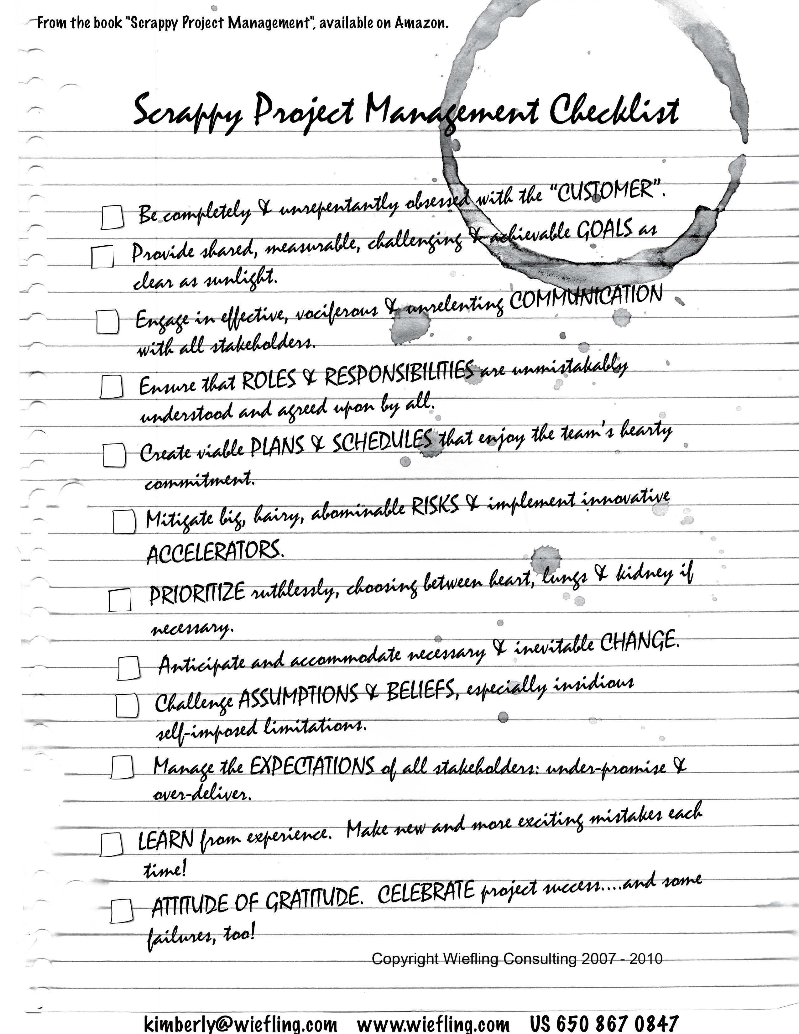 Wiefling Consulting Scrappy Project Management Checklist Overview – Project Checklist
