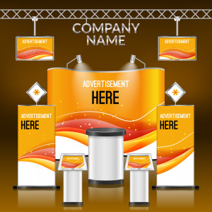 Exhibition advertising promotion stand orange design layout template vector illustration